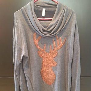Sweaters - Cowl Neck Sequin Deer Print Light Sweater